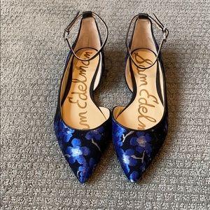 Sam Edelman Radley Black Blue Floral Pointed Flats